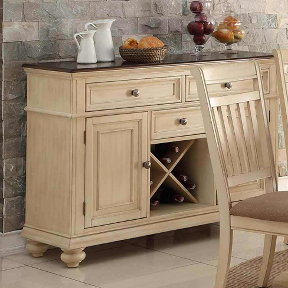 1PerfectChoice Dining Display Storage Buffet Server Wine Rack Drawer Cabinet Wood Antique Cream 0