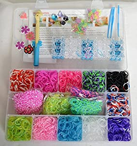3800 Rainbow 11 Colored Loom Bands Kits With 1 Big Tool + 3 Small Tools + 10 crystals and charms + 100 S Clips