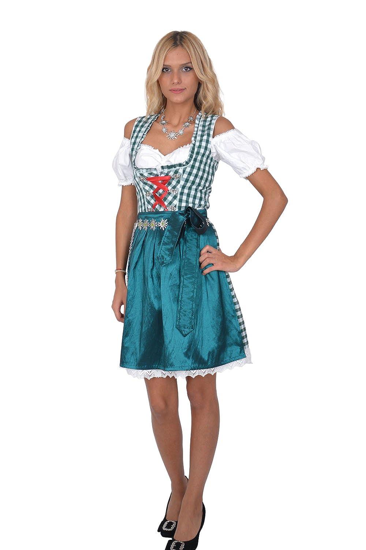 Dirndl Set Trachtenkleid 3tl. Grün Weiß kariert günstig online kaufen