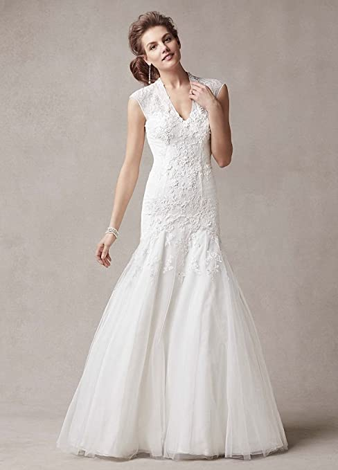 Cap Sleeve Trumpet Lace Wedding Dress