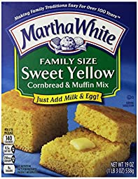 Martha White Family Size Sweet Yellow Cornbread and Muffin Mix, 19-Ounce (Pack of 12)