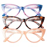 SOOLALA Ladies 50mm Lens Fashion Designer Cat Eye Reading Glasses Customized Strengths, PinkBlueLeo, 1.75 (Color: 3 Pairs / Pink + Blue + Leopard, Tamaño: Medium)