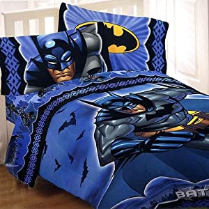 Batman twin bed sheets set shades of blue 3pc bedding twin bed pillowcase and - Batman bedroom furniture ...