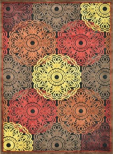Loloi Halton Chenille/Viscose 3-Feet 10-Inch by 3-Feet 10-Inch Round Area Rug, HL-07 Black/Multi