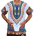 RaanPahMuang Unisex Bright Africa White Dashiki Cotton Plus Size Shirt