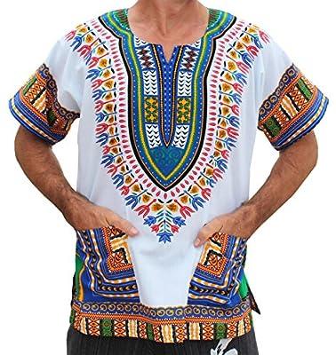 RaanPahMuang Unisex Bright Africa White Dashiki Cotton Plus Size Shirt