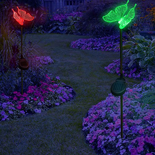 Solarduke Solar Garden Stake Lights Color Changing Butterfly For Lawn Yard Patio Decoration 2