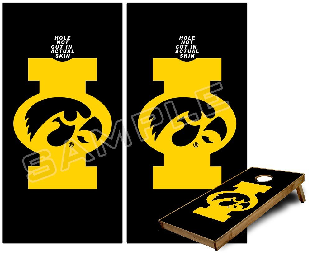 где купить  Cornhole Bag Toss Game Board Vinyl Wrap Skin Kit - Iowa Hawkeyes Tigerhawk Oval 02 Gold on Black (fits 24x48 game boards - Gameboards NOT INCLUDED)  по лучшей цене