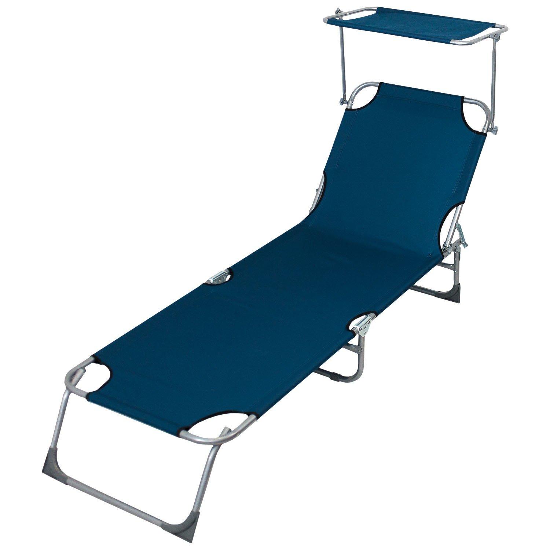 Sonnenliege mit stufenlos verstellbarem Sonnenschutz, 190x58cm, 4-fach verstellbare Rückenlehne, klappbar, Blau - Liegestuhl Gartenliege Klappliege Lounger Strandliege Badeliege Campingliege