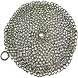 Cast Iron Cleaner Skillet Skrunchie Best XL Heavy Duty Chainmail Scrubber Stainless Steel 7x7 Round