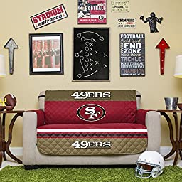 NFL San Francisco 49ers Love Seat Reversible Furniture Protector with Elastic Straps, 75-inches by 88-inches