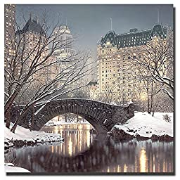 Twilight in Central Park by Rod Chase Premium Stretched Canvas Giclee Art with Hand-Painted Edges (Ready-to-Hang)