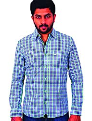 Being hearted men's Checked Casual Shirt CHKD3CLRGRNS_Green_XL