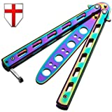 Butterfly Knife - Balisong Trainer Practice Professional Dull Knife - Rainbow Iridescent Metal Butterfly Unsharpened Knife Stainless Steel Blade - Grand Way 1072