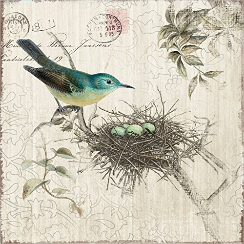 Yosemite Home Decor Yf7255A Nesting I Postage Stamp Linen Print Artwork