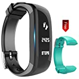 Fitness Tracker Watch, Activity Wristband: Bluetooth band, Wireless Smart Bracelet, Wearable Health Pedometer Sleep Monitor with replacement band for IOS & Android Smartphone, EIISON (Teal Black)