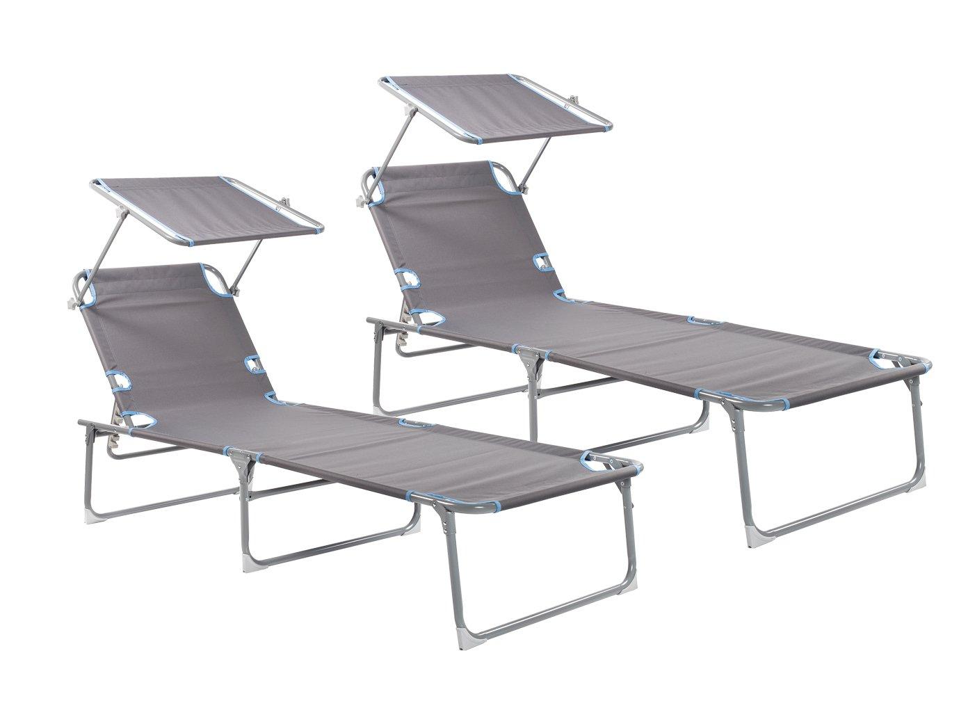 2er-Set Sonnenliege mit Dach, verstellbar, zusammenklappbar, belastbar bis 120kg; Campart Travel BE-0625 günstig bestellen