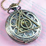 Harry Potter Deathly Hollows Pocket Watch Necklace,golden Dial Pocket Watch Necklace