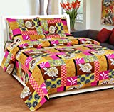 Soni Traders Floral Print Polycotton Double Bedsheet With 2 Pillow Covers (BST_167)