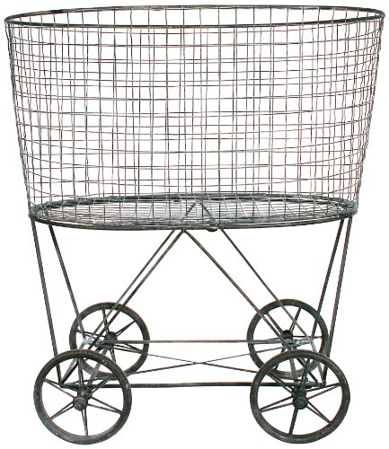 Creative Co-Op DE2757 Metal Vintage Laundry Basket with Wheels (Baskets With Wheels compare prices)