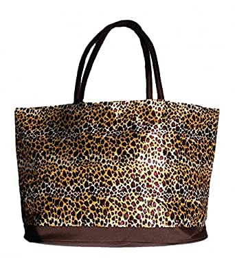 XL Animal Print Fashion Beach Tote Bag with Zippered Top
