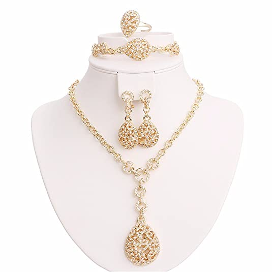 Moochi 18K Gold Plated Crystal Ebmedded Water Drop Pendant Jewelry Set