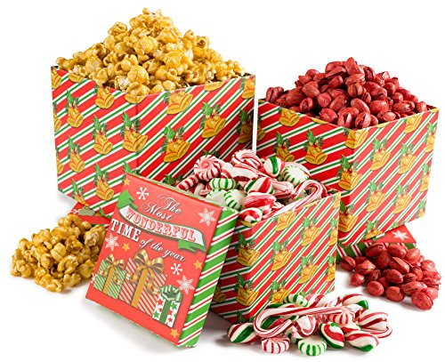 Happy Holidays, Merry Christmas The Most Wonderful Time Christmas Sweet and Savory Holiday Gift Tower Filled with Roasted Red Pistachios, Buttery Caramel Popcorn and Christmas Old Fashioned Candy. Perfect for Men and Woman of all ages. image