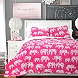 Lush Decor 3 Piece Elephant Parade Sherpa Quilt Set, Full/Queen, Pink