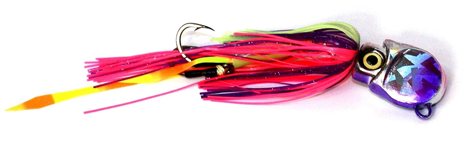 Braid 4 Hook Thumper Squid Jig, 2-1/4-Ounce, Purple/Pink apex jig heads pack of 20 1 4 ounce chartreuse green