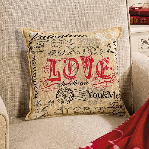 Valentine'S Day Pillow Gift Home Decor Whimsical Postcard Romantic Words Square Linen Toss Cushion Sofa Chair Bed Couch V-Day Love Decoration front-107035