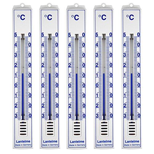 5-Stck-Set-Analog-Innen-Aussen-Garten-Thermometer--Kunststoff-weiss