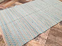 Gorgeous Natural Turquoise Zig Zag Design Soft Indian Rug 90cm x 150cm from Second Nature Online