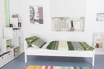 """Holzbett / Gästebett """"Easy Sleep"""" K1/ Voll, 90 x 200 Buche Vollholz massiv weiß lackiert"""