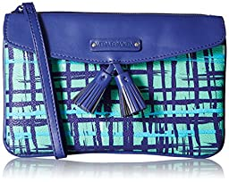 Vera Bradley Tassel Wristlet Clutch, Navy/Teal Art Plaid, One Size
