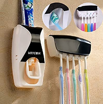 WAYCOM Dust-proof Toothpaste Dispenser Toothpaste Squeezer Kit (Black) by WAYCOM