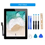 for iPad 3 Touch Screen Digitizer/Front Glass Screen Replacement(Include Home Button) & Tool Kit-Black 9.7 Inch (Color: Black, Tamaño: ipad 3)
