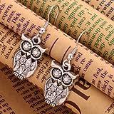 YAZILIND Silvery Antique Latticed Pattern Owl Ear Wire Hook Dangle Animal Earrings
