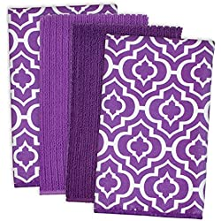 "DII Cleaning, Washing, Drying, Ultra Absorbent, Lattice Microfiber Dishtowel 16x19"" (Set of 4) - Eggplant"