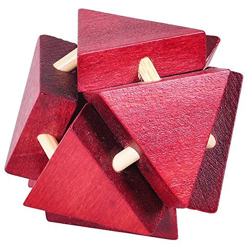 KINGOU Wooden Triangle Lock Smooth and Slick Lock Logic Puzzle Burr Puzzles Brain Teaser Intellectual Toy