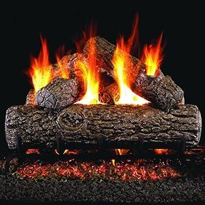 Peterson Real Fyre 24-inch Golden Oak Log Set With Vented Natural Gas Ansi Certified G46 Burner - Manual Safety Pilot
