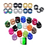 D&M Jewelry 50pcs Stainless Steel & Silicone Double-Flared Flexible Ear Stretching Tunnels Gauge 9/16