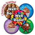 Primary Teaching Services Ltd X22 - Sheet of 35 Mixed Well Done 37mm Chocolate Scented Stickers