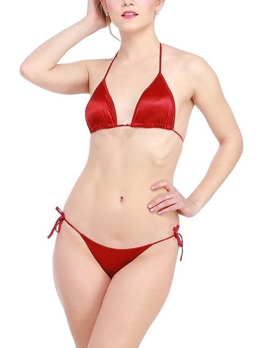73ba60ad0b5 Glus Satin Halter Bikini Honeymoon  Bridal  Beach Wear  Sleepwear Lingerie  Set