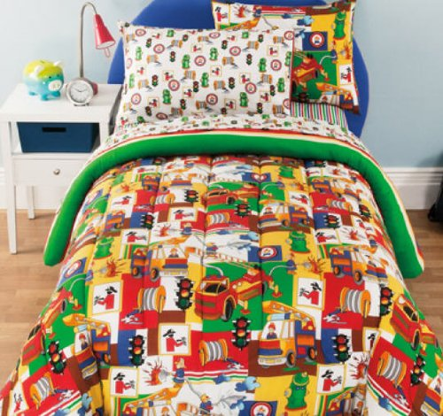 Fireman, Firetruck, Boys Reversible Twin Comforter Set (6 Piece Bed In A Bag) (Fire Truck Comforter Set compare prices)