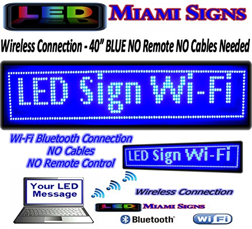 """Led Sign With Wi-Fi Connection Programmable Led Display Ultra Bright Blue Size 40"""" New With Wireless Connection Led Sign No Cables To Connect - No Remote Control Needed (Led Miami Signs) Call Us 305-328-9557"""