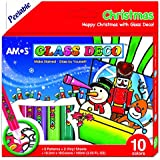 AMOS Winter Range Peelable Glass Paints & Stain Kit with outliners - 10 colours