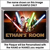 Personalised XL Size LEGO STAR WARS Bedroom Door Plaque - Plaque Size 16.5cm by 11.5cm - An Ideal Gift