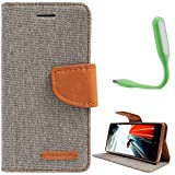Samsung Galaxy Note 1 N-7000/ GT-9220 Canvas Diary Leather Flip Cover WitH USB Led Light By Online Street - (Matte Grey+ LED Light)