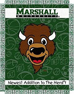 Buy NCAA Marshall Thundering Herd 36-Inch-by-46-Inch Woven Jacquard Baby Throw by Northwest
