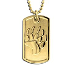 14k Yellow Gold Bear Trax Dog Tag Necklace Pendant. Made in USA.